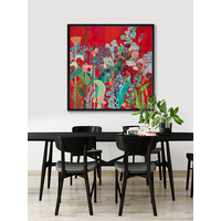 Red Floral Jungle Poster