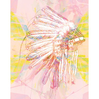 Indian War Bonnet Pink Art Print